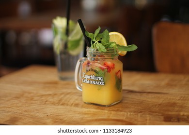 Izmir, Konak / Turkey - 7 26 2017 : Jack Daniel's Lynchburg Lemonade is home made lemonade with lemon, mint, strawberry, ice and alcohol. refreshing and delicious drink.