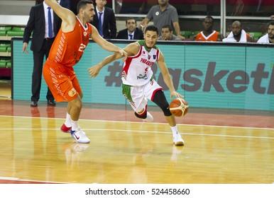 IZMIR - NOV 01: Pinar Karsiyaka's MUHAMMED BAYGUL drives to the basket in Basketball Champions League game between Pinar Karsiyaka 66 - 79 Le Mans Sarthe on November 01, 2016 in Izmir