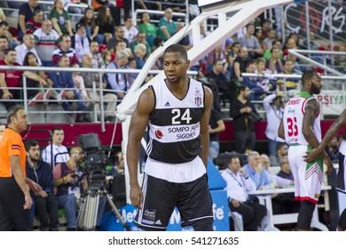 IZMIR - NOV 5: Besiktas Sompo Japan's D.J. STRAWBERRY standing during game in Turkish Basketball League game between Pinar Karsiyaka 82 - 77 Besiktas Sompo Japan on November 5, 2016 in Izmir