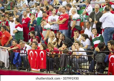 IZMIR - OCTOBER 29: Pinar Karsiyaka'sFans are supporting in Turkish Airlines Euroleague game between Pinar Karsiyaka 66-86 Zalgiris Kaunas on October 29, 2015 in Izmir