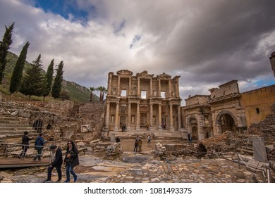 Izmir Province, Turkey - Circa December 2017 -  A shot of part of the amazing city of Ephesus filled with beautiful ruins which was once a Greek city presently under restoration