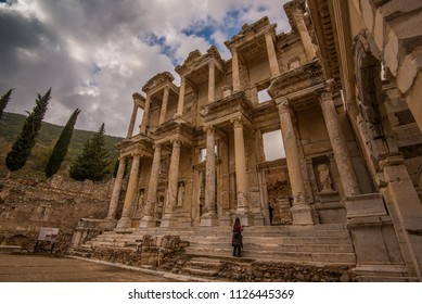 Izmir Province, Turkey - Circa December 2017 - A perspective shot of one of the ruin structures in the amazing city of Ephesus which was once a Greek city and presently under restoration