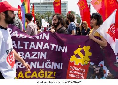 Izmir, Turkey - 1 May 2017: International Workers Day, Izmir, Turkey. Photo taken on: May 1rd, 2017