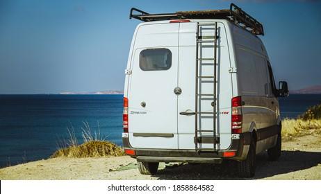 Izmir/ Turkey- 1 November 2020:Mercedes sprinter self made camper van with a  sea view view
