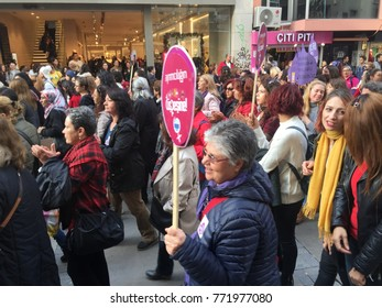 Izmir, Turkey, 11/25/2017 Womens' protests in Izmir, International Day for the Elimination of Violence against Women