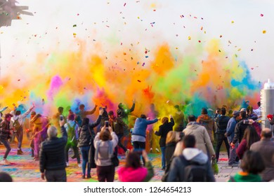 IZMIR, TURKEY - 22 DECEMBER 2018 : A Color Fest Party in Gundogdu Area, Izmir, Turkey. Crowd of happy young people have fun in colors during festival of colors ColorFest