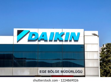 Izmir, Turkey 28 JULY, 2018: Daikin is a Japanese multinational air conditioning manufacturing company headquartered in Osaka.