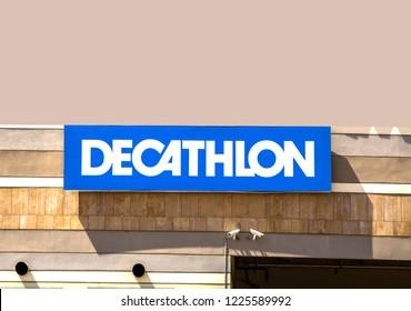 Izmir, Turkey 28 JULY, 2018: The logo of Decathlon S.A. - French international sporting goods retailer. Decathlon is the largest sporting goods retailer in the world.