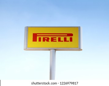 Izmir, Turkey 28 JULY, 2018: PIRELLI Logo against blue sky. PIRELLI is one of the world's leading manufacturers for vehicle tires