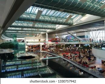 IZMIR ,TURKEY - APRIL 15, 2018: Izmir Adnan Menderes Airport is an international airport serving Izmir and most of the surrounding province in Turkey.