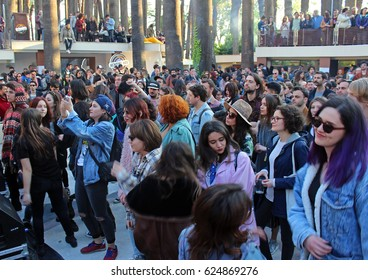 Izmir, Turkey - April 8, 2017: At Epic Fair 2017 music fest in Kubana Gazinosu (Cuban Nightclub), prominent names of Turkish alternative music scene took stage. Music fans filled the festival area.