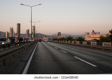 Izmir, Turkey - August  11, 2018: Ege perla skyscrapper and Mistral skyscrapper view from Ankara Road with traffic in Izmir Turkey.