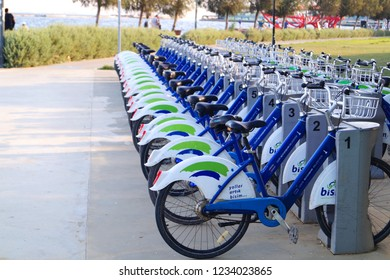 Izmir, TURKEY - August 13, 2018: A lots of bicycles in bicycle park. Bicycles as a part of eco-firendly transport system in the city and healthy active lifestyle