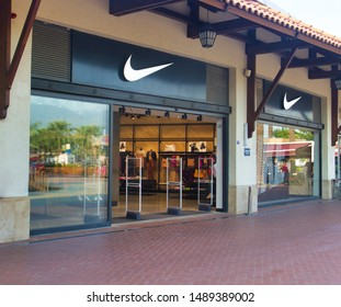 Izmir TURKEY - August 15, 2019 : Exterior of a sporting goods store displaying Nike on November 27, 2013 in Izmir, Turkey. Name from Nike, the goddess of victory in Greek mythology gets.