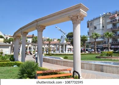IZMIR, TURKEY - AUGUST 27, 2015: Historicism in public space design in Menemen, a district of Izmir. Usage of Classical Greek architectural elements.