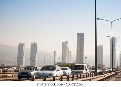 Izmir, Turkey - August  3, 2018: Ege perla skyscrapper and Mistral skysrapper and Folkart towers view from Ankara Road with traffic in Izmir Turkey.
