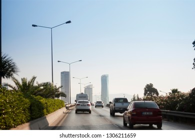 Izmir, Turkey - August  3, 2018: Ege perla skyscrapper and Mistral skysrapper view from Ankara Road with traffic in Izmir Turkey.