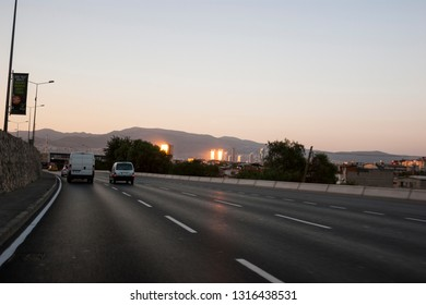 Izmir, Turkey - August  3, 2018: Ege perla skyscrapper, Mistral skyscrapper and Folkart towers view from Ankara Road with traffic in Izmir Turkey.