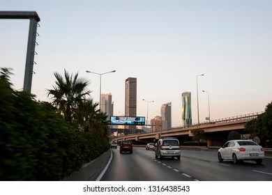 Izmir, Turkey - August  3, 2018: Ege perla skyscrapper and Mistral skyscrapper view from Ankara Road with traffic in Izmir Turkey.