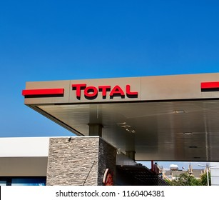 Izmir TURKEY - August 5, 2018 : Total oil station. Total S.A. is a French multinational integrated oil and gas company. Its business covers the entire oil and gas chain, from crude oil and natural gas
