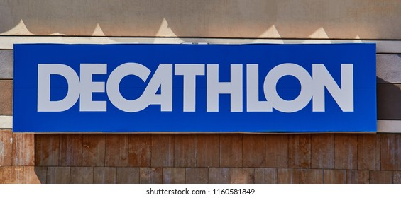 Izmir TURKEY - August 5, 2018 :Decathlon sign on a wall. Decathlon is a french company and one of the world's largest sporting goods retailers