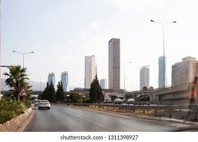 Izmir, Turkey - August  8, 2018: Ege perla skyscrapper, Mistral skyscrapper and Folkart towers view from Ankara Road with traffic in Izmir Turkey.