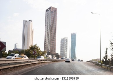 Izmir, Turkey - August  8, 2018: Ege perla skyscrapper and Mistral skysrapper view from Ankara Road with traffic in Izmir Turkey.