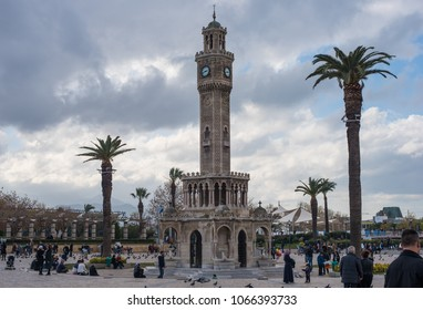 Izmir, Turkey - Circa December 2017 - A shot of Izmir Clock Tower located in Konak Square surrounded by tourists and visitors