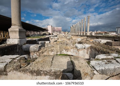 Izmir, Turkey - Circa December 2017 - A perspective shot of Romans ruins famously known as Agora which currently is under restoration in Izmir, Turkey