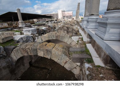 Izmir, Turkey - Circa December 2017 - A perspective shot of Romans ruins famously known as Agora which is currently under restoration in Izmir, Turkey