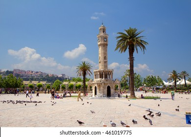 Izmir. Turkey. Clock tower. The famous clock tower became the symbol of Izmir, located in square. The tower was built in 1901 by French architect .