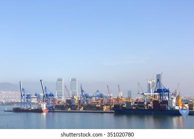 Izmir, Turkey - December 13, 2015: Big cargo ship waiting to be loaded in the Izmir port Alsancak.