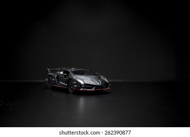 Izmir, Turkey - February 28, 2015. lamborghini veneno lp750-4 toy car product shot.