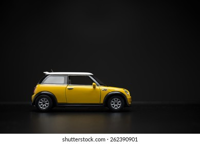 Izmir, Turkey - February 28, 2015.  Mini Cooper S Toy car on black background.