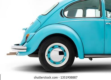 Izmir, Turkey - February 8, Rear wheel of a blue Volkswagen beetle.