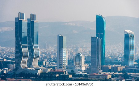 Izmir, Turkey - January 29, 2018 : New skycrapers district of Izmir City view from Bayrakli Hill. Izmir is the third biggest city of Turkey.