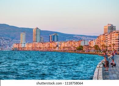 IZMIR, TURKEY - JULY 16, 2013: A view from Alsancak, (Kordon), izmir. izmir is the third most populous city