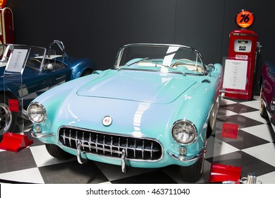 IZMIR, TURKEY - JULY 2016: 1957 Chevrolet Corvette. The Key Museum was born in the soul of the collectors Murat Ozgorkey, Vice President Selim Ozgorkey and the Chief Executive Officer of E.Ozgorkey