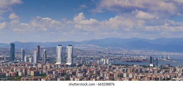 Izmir, Turkey - June 19, 2017. Panoramic view of Izmir from the hills of Bornova on a sunny summer day.