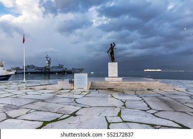 Izmir, Turkey - March 06, 2016: Justice sculpture and sea museum at background in Inciralti, Izmir.