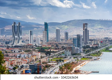 Izmir, Turkey - March 08, 2018 : New skycrapers district of Izmir City view from Bayrakli Hill. Izmir is the third biggest city of Turkey.