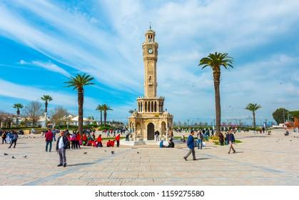 IZMIR, TURKEY - MARCH 10, 2018: IZMIR CLOCK TOWER (Turkish: Izmir Saat Kulesi) is a historic clock tower located at the Konak Square in the Konak district of Izmir, Turkey.