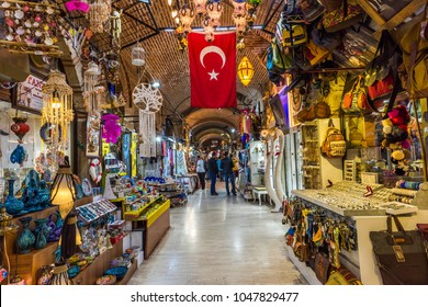 IZMIR, TURKEY - MARCH 9, 2018: Kizlaragasi Han Bazaar is old historical shopping center in Izmir. Kizlaragasi Han Bazaar is populer tourist attraction and shopping center in Kemeralti Bazaar, Konak.