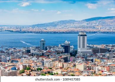 Izmir, Turkey - May 12, 2018 : Izmir City panoramic view from Kadifekale Castle. Izmir is the third biggest city of Turkey.