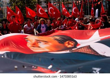 Izmir, Turkey - May 19 , 2019:  Celebrations of the 19 May 2019 Memoriam of Mustafa Kemal Ataturk, Youth and Sports Festival Izmir Konak Turkey. Republic Square.