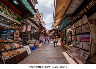 Izmir, Turkey - May 26, 2018. Kemeralti bazaar shoot with fisheye lens. Izmir Turkey. Crowded People shopping.