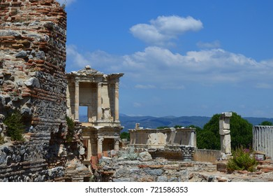 Izmir, Turkey - May 28, 2016: Tourists are visiting Ephesus Ancient City which is famous with Temple of Artemis and seven wonders of the ancient world.