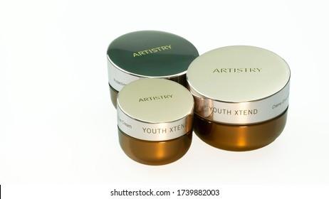 Izmir, Turkey, May-24-2020, Amway, Artistry facial care cream set.