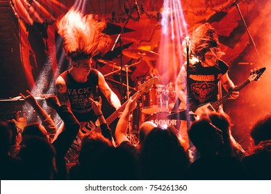 Izmir, Turkey Nov 11, 2017 : Heavy metal band named Chronosphere is playing during the concert of Izmir Attack festival on Nov 11, 2017, in Izmir, Turkey.