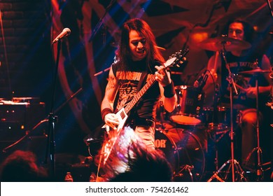 Izmir, Turkey Nov 11, 2017 : Heavy metal band named Chronosphere is playing during the concert of Izmir Attack festival on Nov 11, 2017, in Izmir, Turkey.